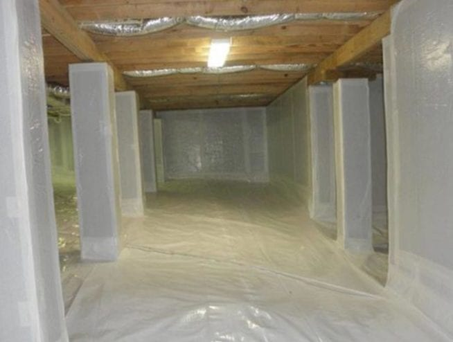 Basement Interior with Crawl Space Barrier | Dr. Crawlspace