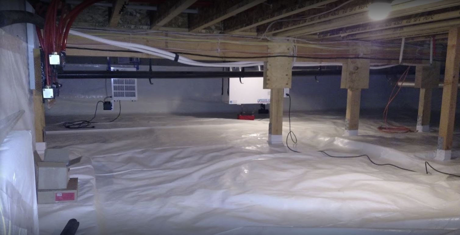 A clean, waterproof crawl space